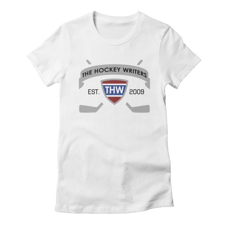 THW Hockey Sticks Logo - for lighter items Women's Fitted T-Shirt by The Hockey Writers