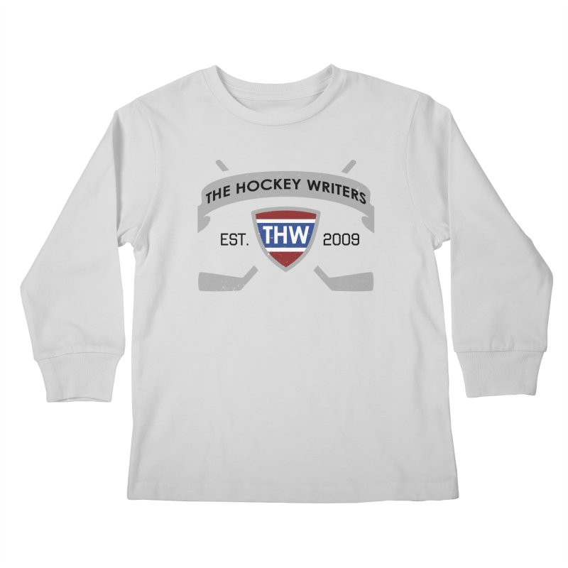 THW Hockey Sticks Logo - for lighter items Kids Longsleeve T-Shirt by The Hockey Writers