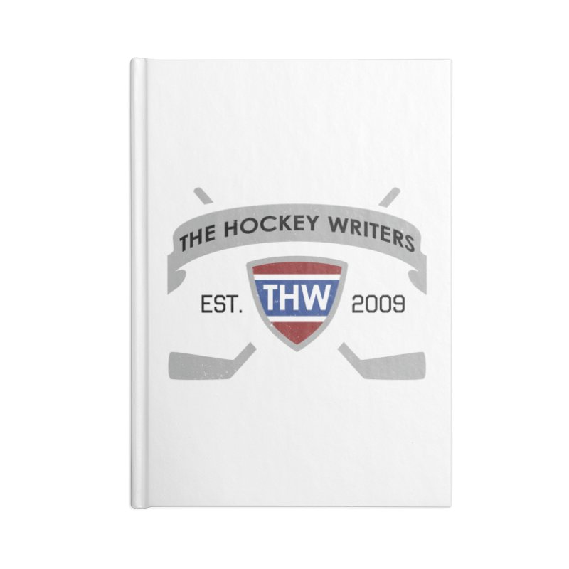 THW Hockey Sticks Logo - for lighter items Accessories Lined Journal Notebook by The Hockey Writers