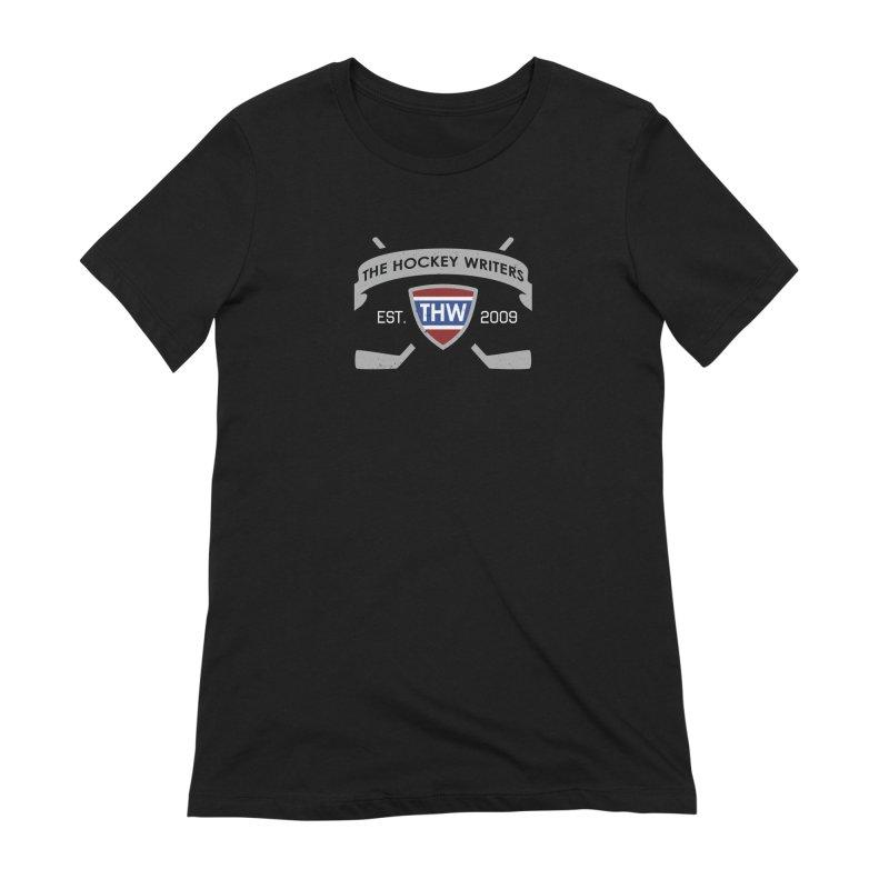 THW Hockey Sticks Logo - dark items Women's Extra Soft T-Shirt by The Hockey Writers