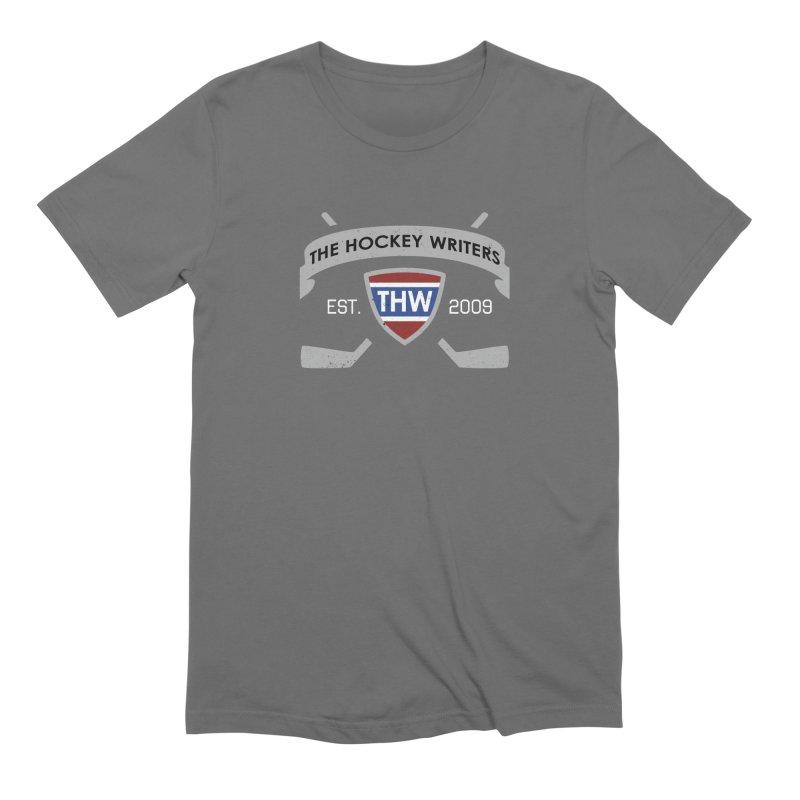 THW Hockey Sticks Logo - dark items Men's Extra Soft T-Shirt by The Hockey Writers