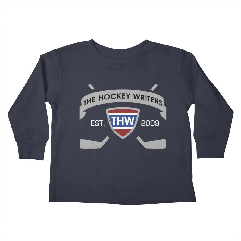 THW Hockey Sticks Logo - dark items Kids Toddler Longsleeve T-Shirt by The Hockey Writers