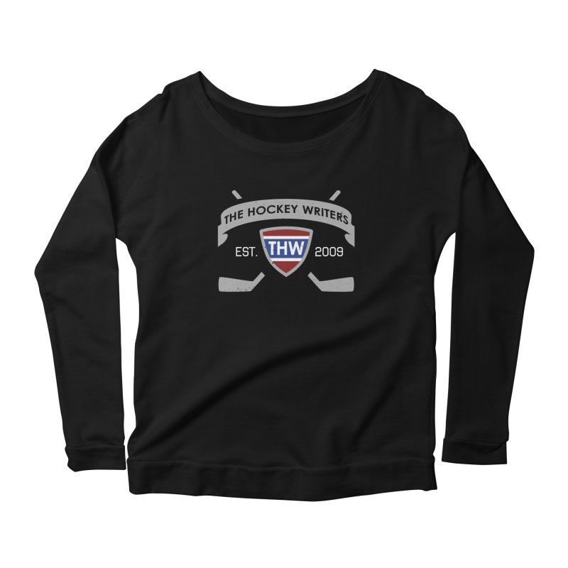 THW Hockey Sticks Logo - dark items Women's Scoop Neck Longsleeve T-Shirt by The Hockey Writers
