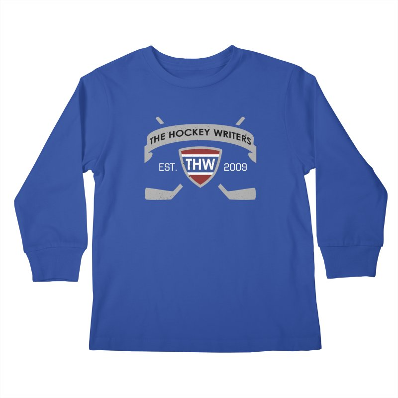 THW Hockey Sticks Logo - dark items Kids Longsleeve T-Shirt by The Hockey Writers
