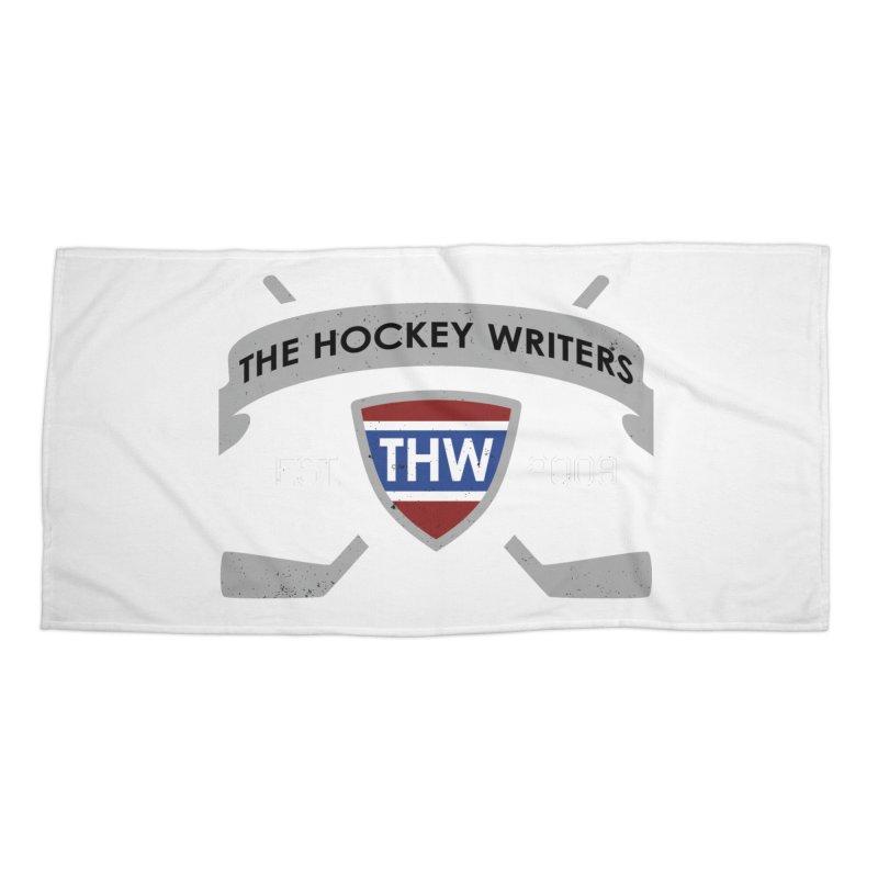 THW Hockey Sticks Logo - dark items Accessories Beach Towel by The Hockey Writers