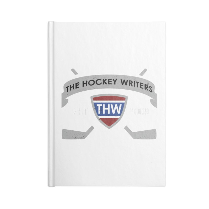 THW Hockey Sticks Logo - dark items Accessories Lined Journal Notebook by The Hockey Writers