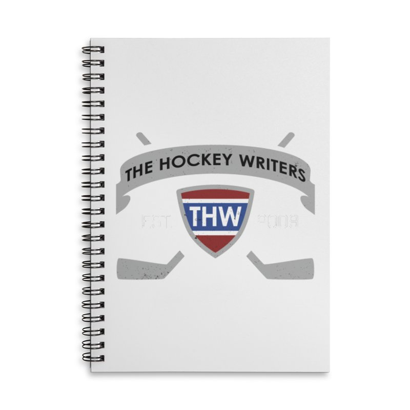 THW Hockey Sticks Logo - dark items Accessories Lined Spiral Notebook by The Hockey Writers