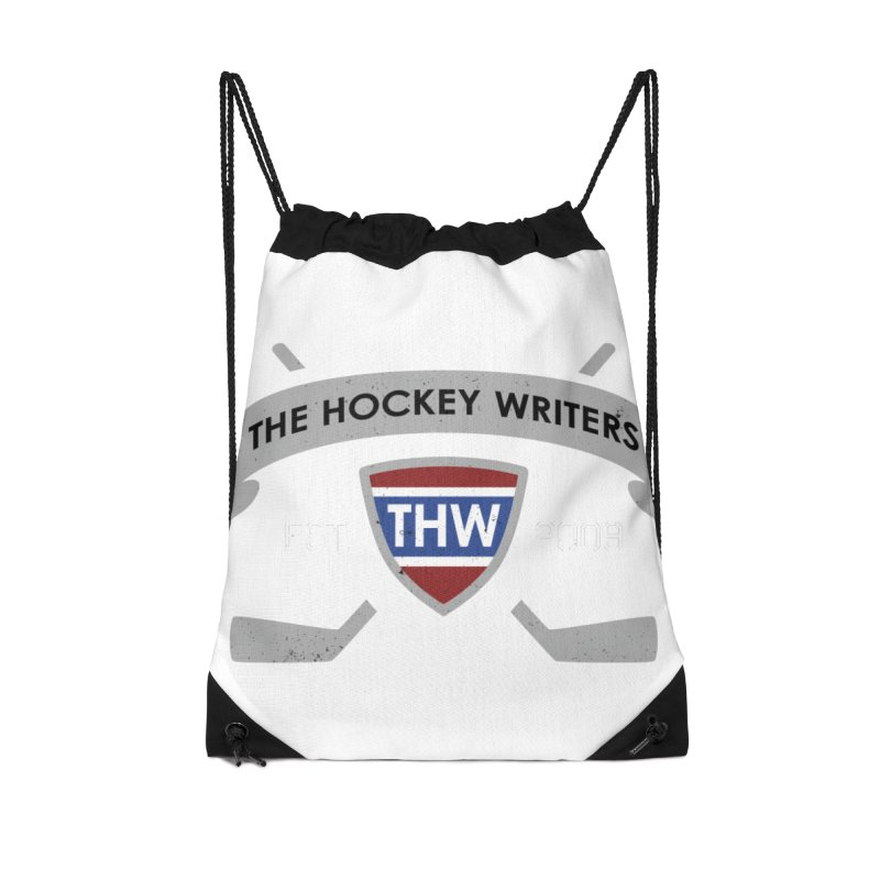 THW Hockey Sticks Logo - dark items Accessories Drawstring Bag Bag by The Hockey Writers