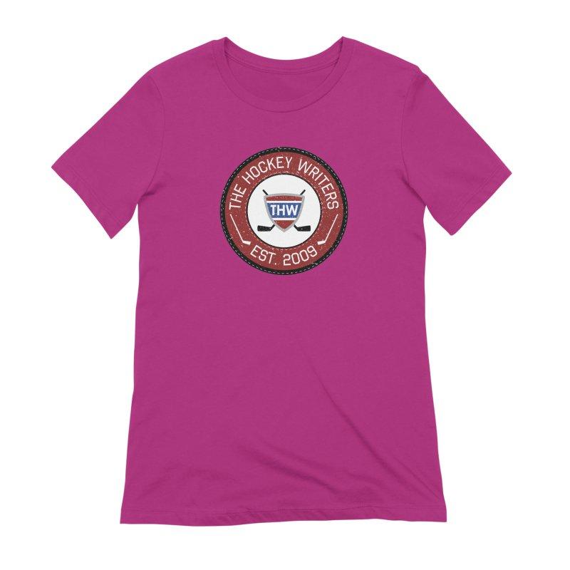 Round Dark-edged THW logo Women's Extra Soft T-Shirt by The Hockey Writers