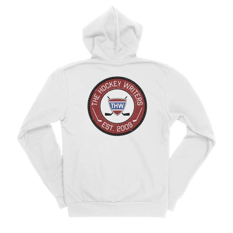 Round Dark-edged THW logo Men's Sponge Fleece Zip-Up Hoody by The Hockey Writers