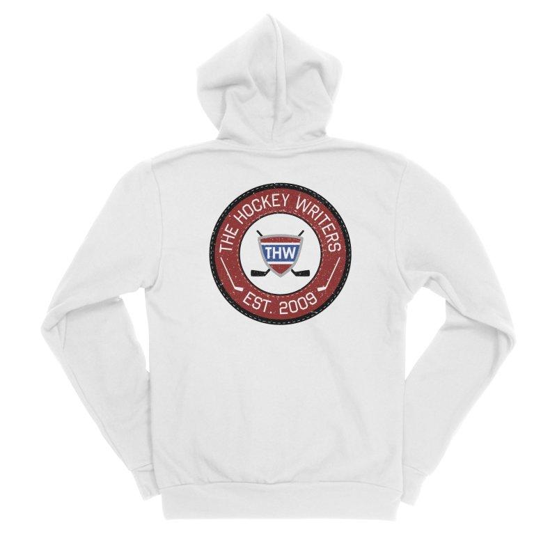 Round Dark-edged THW logo Women's Sponge Fleece Zip-Up Hoody by The Hockey Writers