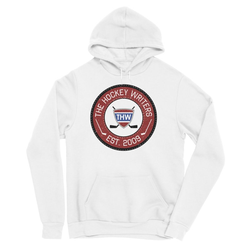 Round Dark-edged THW logo Women's Sponge Fleece Pullover Hoody by The Hockey Writers