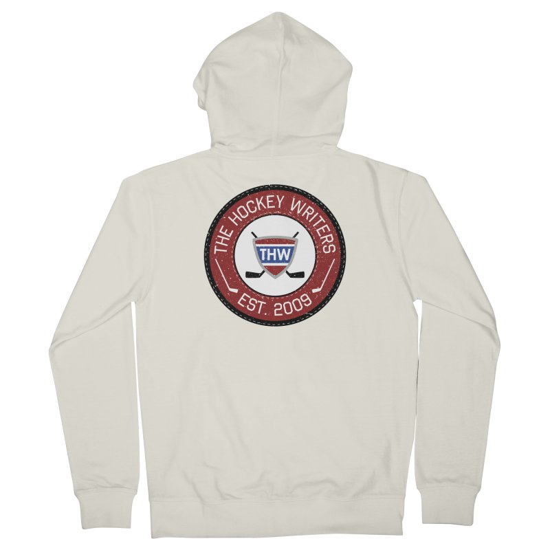 Round Dark-edged THW logo Men's French Terry Zip-Up Hoody by The Hockey Writers