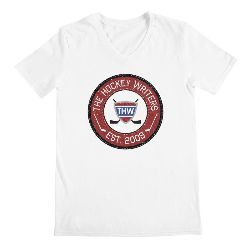 Round Dark-edged THW logo Men's Regular V-Neck by The Hockey Writers