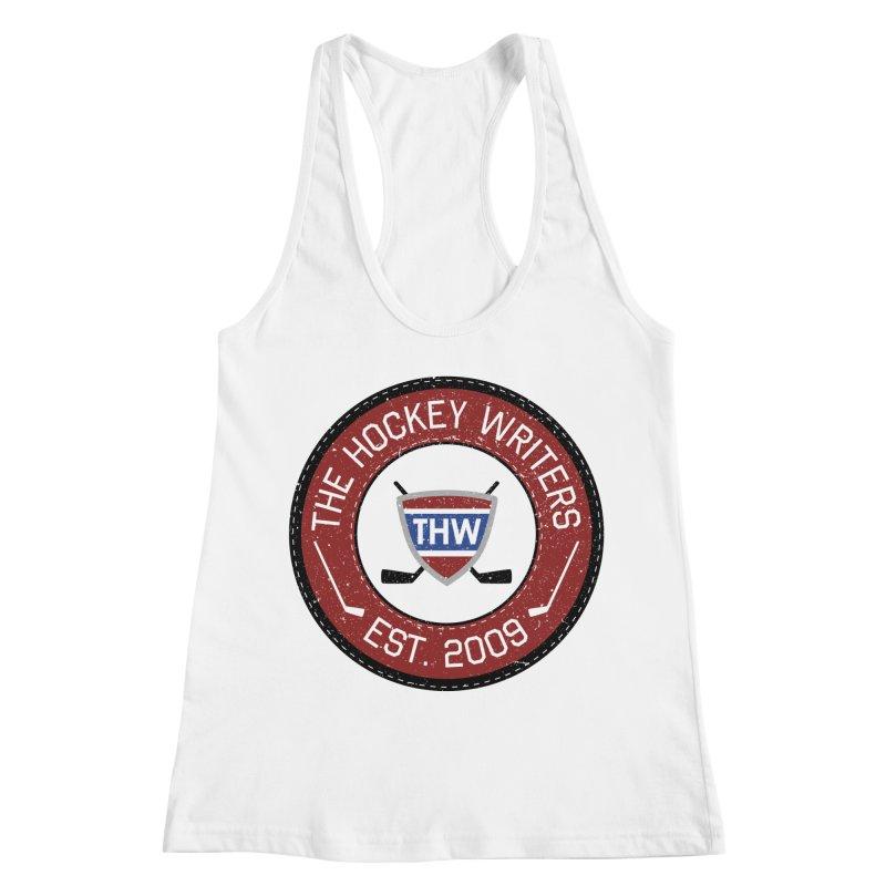 Round Dark-edged THW logo Women's Racerback Tank by The Hockey Writers
