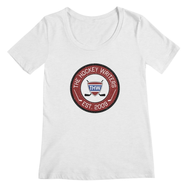 Round Dark-edged THW logo Women's Regular Scoop Neck by The Hockey Writers