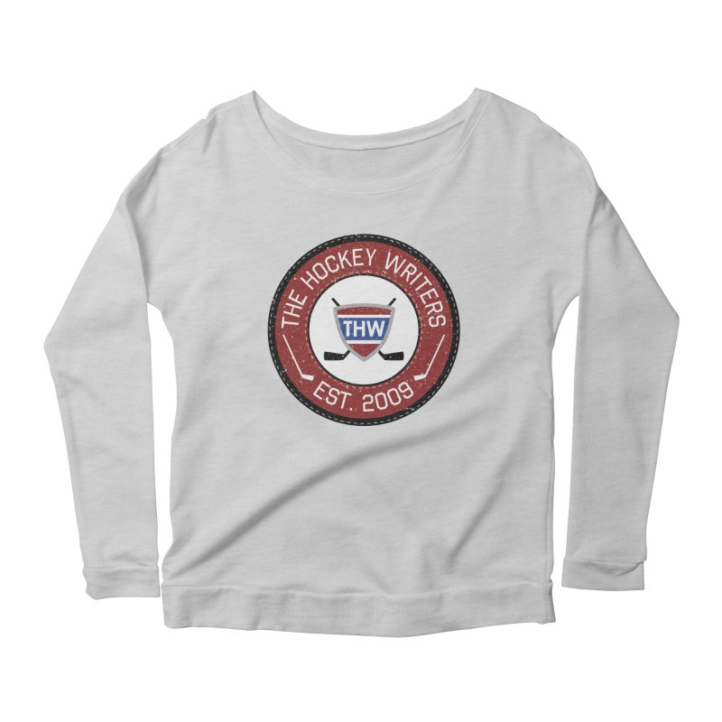 Round Dark-edged THW logo Women's Scoop Neck Longsleeve T-Shirt by The Hockey Writers