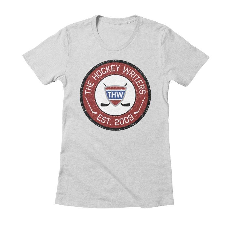Round Dark-edged THW logo Women's Fitted T-Shirt by The Hockey Writers
