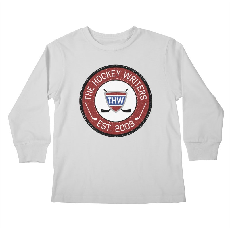 Round Dark-edged THW logo Kids Longsleeve T-Shirt by The Hockey Writers