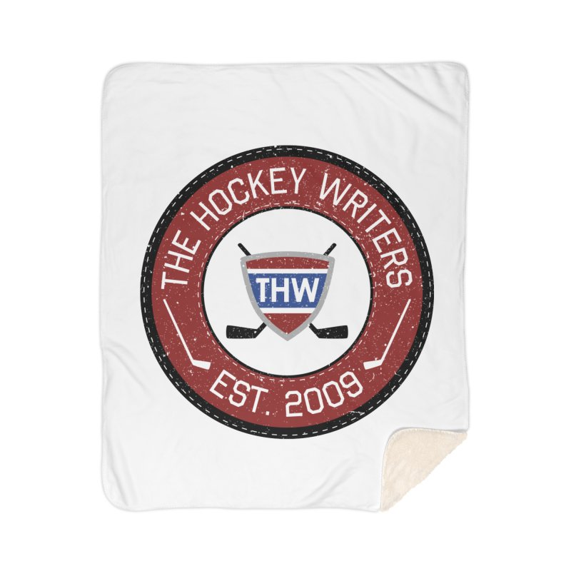 Round Dark-edged THW logo Home Blanket by The Hockey Writers