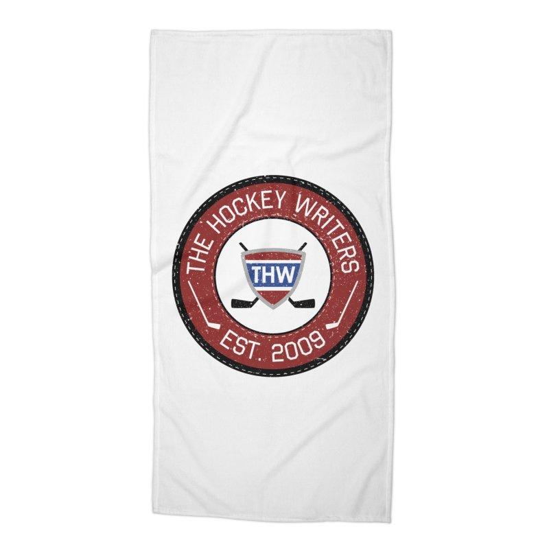 Round Dark-edged THW logo Accessories Beach Towel by The Hockey Writers