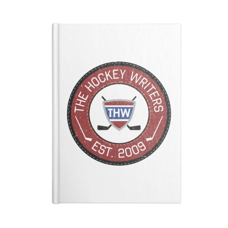 Round Dark-edged THW logo Accessories Lined Journal Notebook by The Hockey Writers
