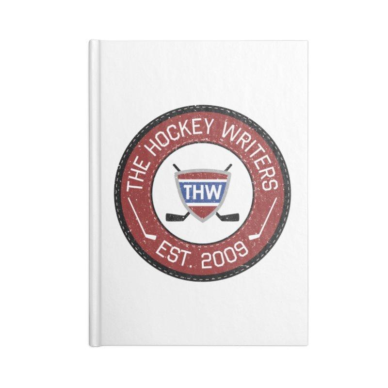 Round Dark-edged THW logo Accessories Blank Journal Notebook by The Hockey Writers