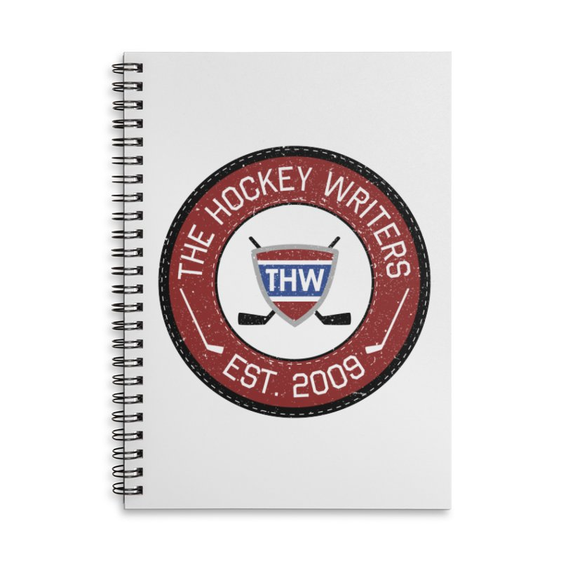 Round Dark-edged THW logo Accessories Lined Spiral Notebook by The Hockey Writers