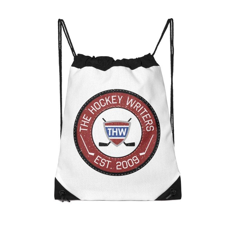 Round Dark-edged THW logo Accessories Drawstring Bag Bag by The Hockey Writers