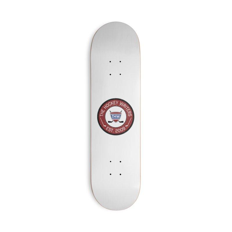 Round Dark-edged THW logo Accessories Deck Only Skateboard by The Hockey Writers