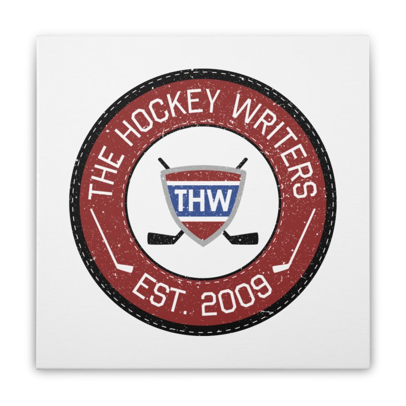 Round Dark-edged THW logo Home Stretched Canvas by The Hockey Writers