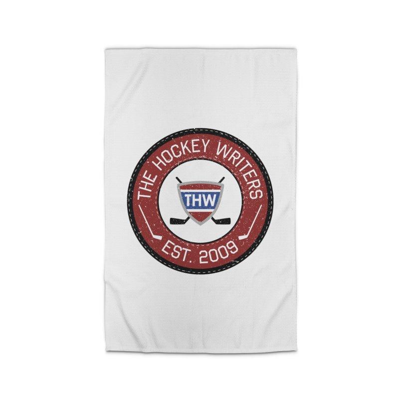 Round Dark-edged THW logo Home Rug by The Hockey Writers