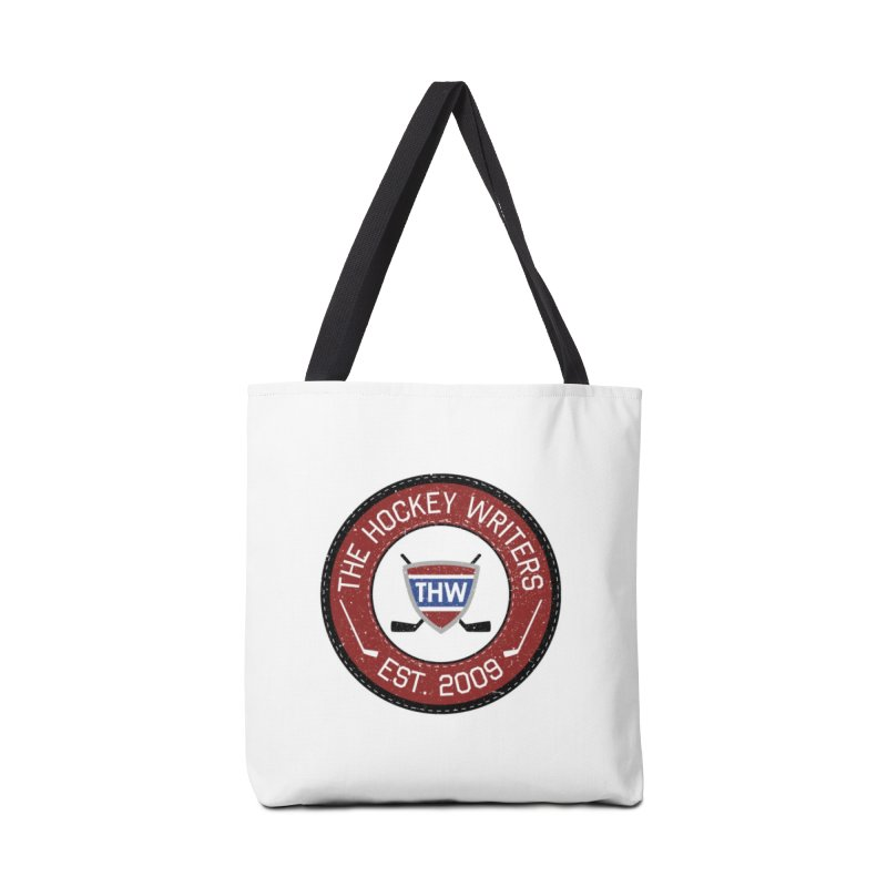 Round Dark-edged THW logo Accessories Tote Bag Bag by The Hockey Writers