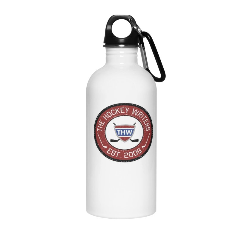 Round Dark-edged THW logo Accessories Water Bottle by The Hockey Writers