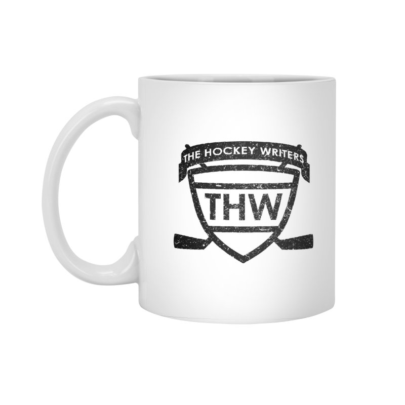 The Hockey Writers Shield - black stressed in Standard Mug White by The Hockey Writers