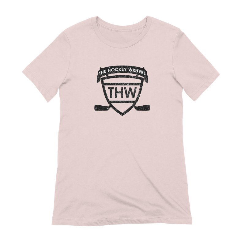 The Hockey Writers Shield - black stressed Women's Extra Soft T-Shirt by The Hockey Writers