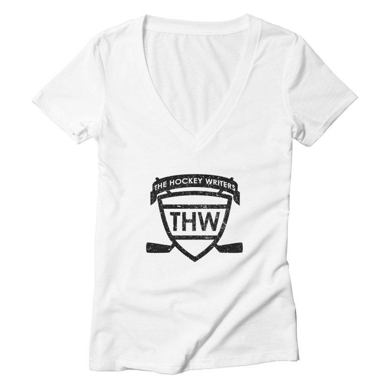 The Hockey Writers Shield - black stressed Women's Deep V-Neck V-Neck by The Hockey Writers