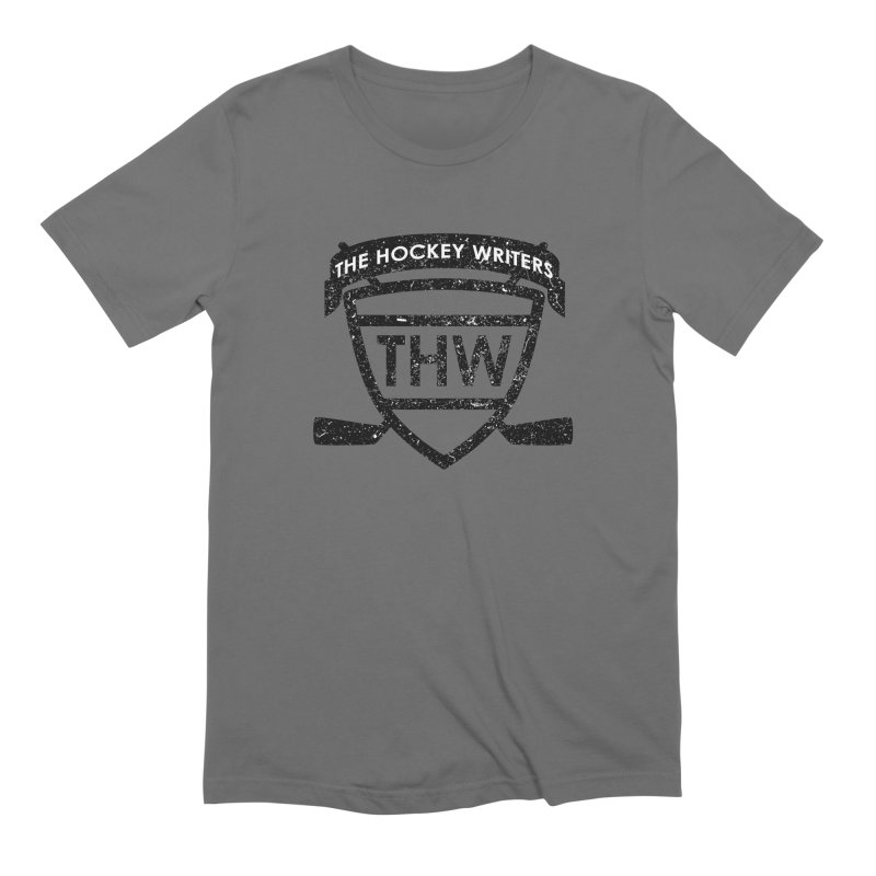 The Hockey Writers Shield - black stressed Men's Extra Soft T-Shirt by The Hockey Writers