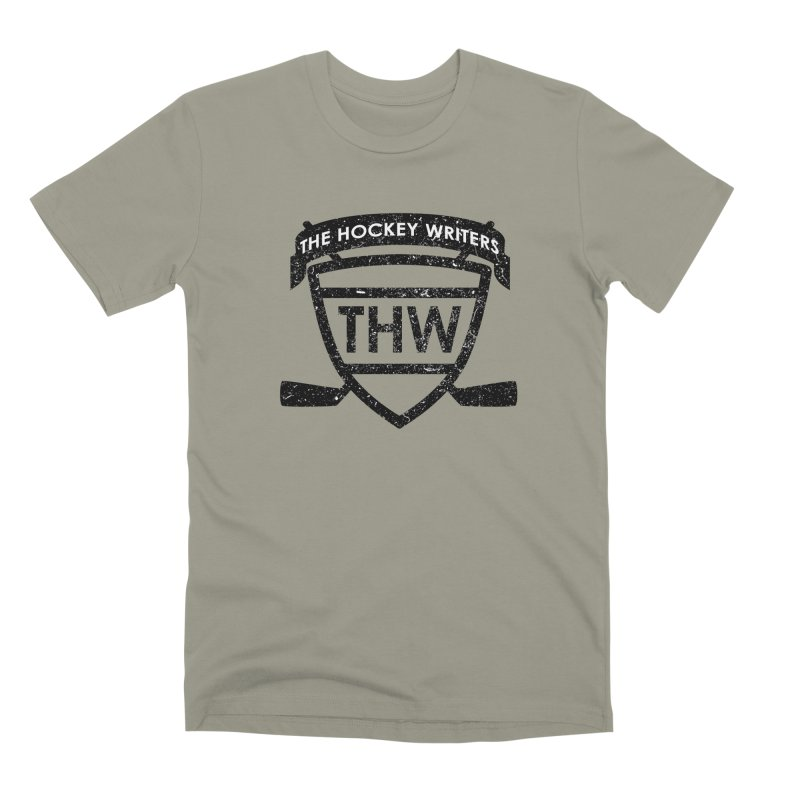 The Hockey Writers Shield - black stressed Men's Premium T-Shirt by The Hockey Writers