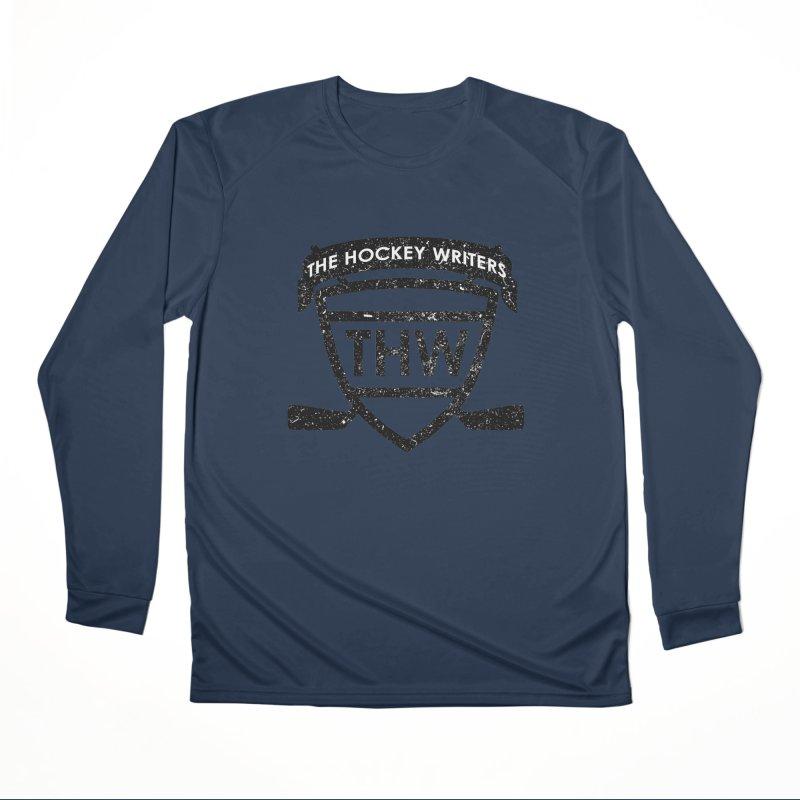 The Hockey Writers Shield - black stressed Men's Performance Longsleeve T-Shirt by The Hockey Writers