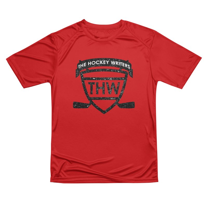 The Hockey Writers Shield - black stressed Men's Performance T-Shirt by The Hockey Writers