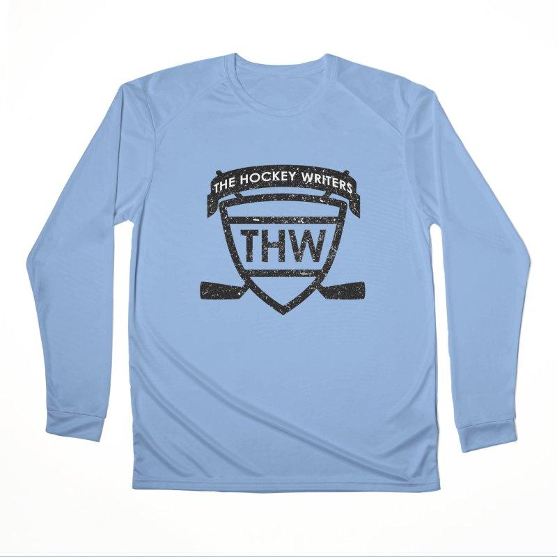 The Hockey Writers Shield - black stressed Women's Performance Unisex Longsleeve T-Shirt by The Hockey Writers