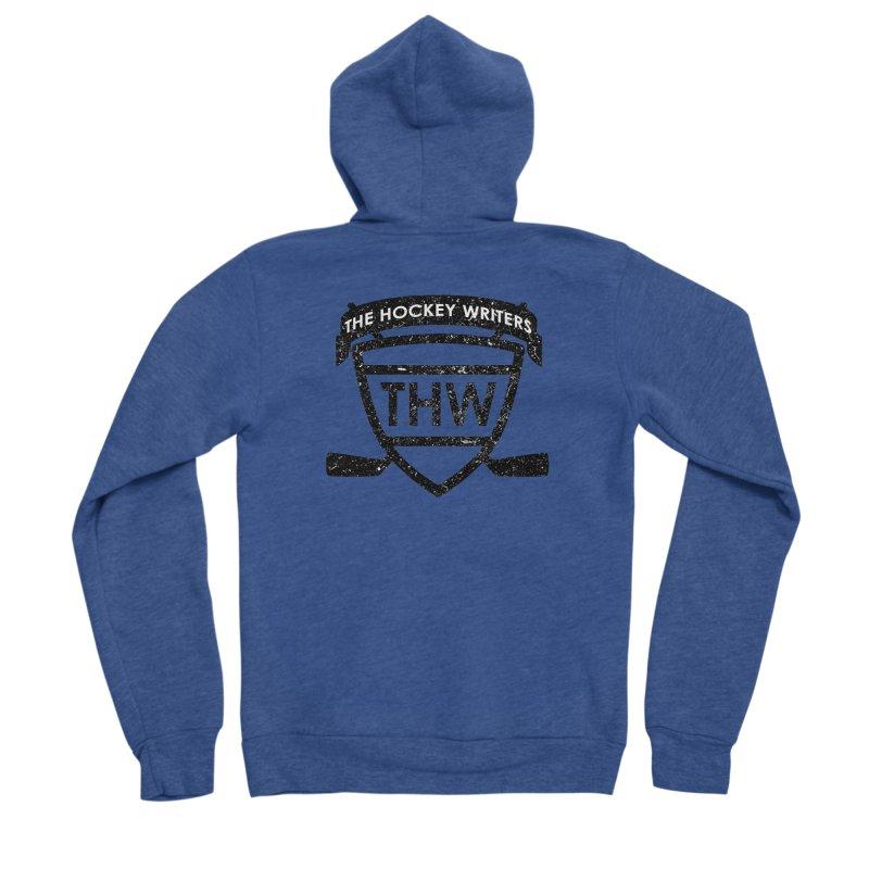 The Hockey Writers Shield - black stressed Men's Sponge Fleece Zip-Up Hoody by The Hockey Writers