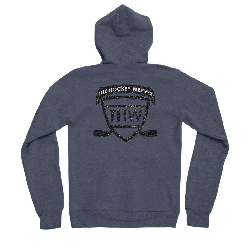 The Hockey Writers Shield - black stressed Women's Sponge Fleece Zip-Up Hoody by The Hockey Writers
