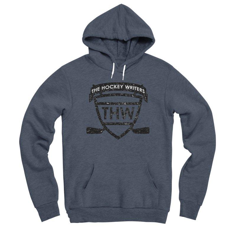 The Hockey Writers Shield - black stressed Women's Sponge Fleece Pullover Hoody by The Hockey Writers