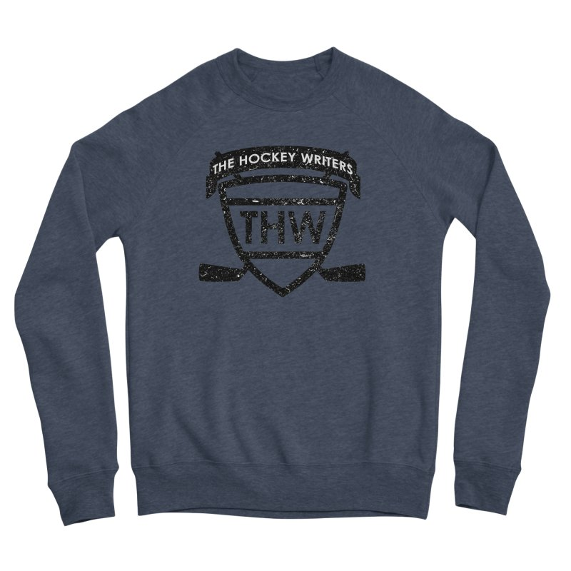 The Hockey Writers Shield - black stressed Men's Sponge Fleece Sweatshirt by The Hockey Writers