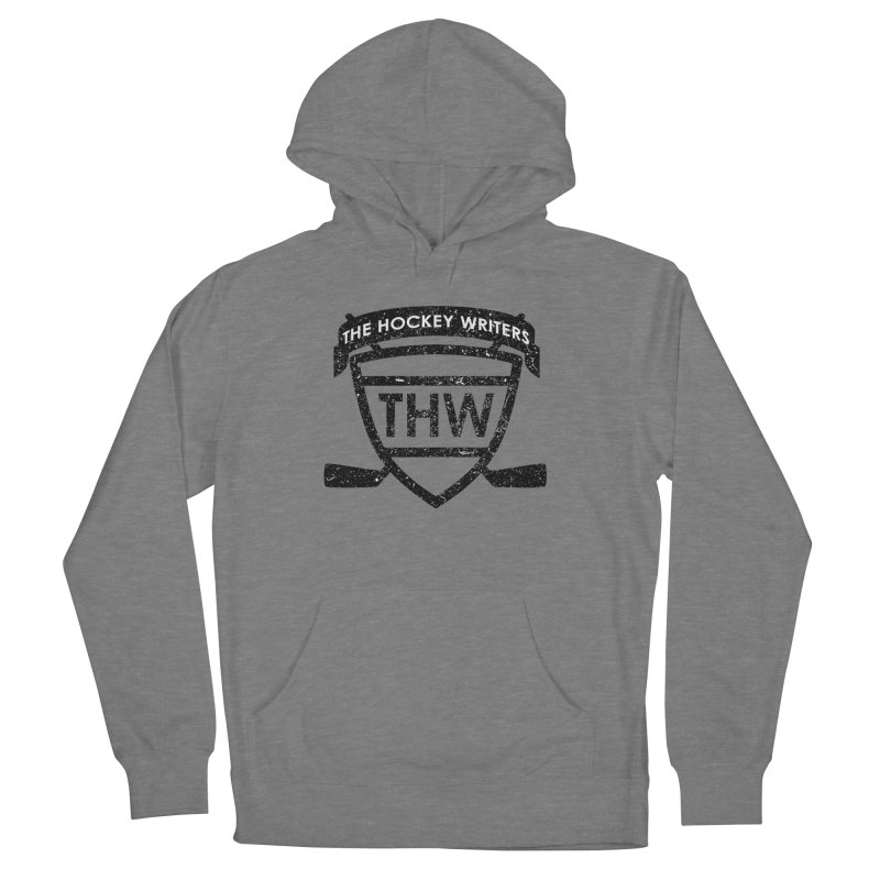 The Hockey Writers Shield - black stressed Women's French Terry Pullover Hoody by The Hockey Writers