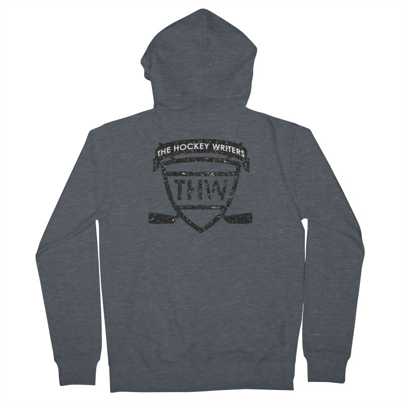The Hockey Writers Shield - black stressed Men's French Terry Zip-Up Hoody by The Hockey Writers