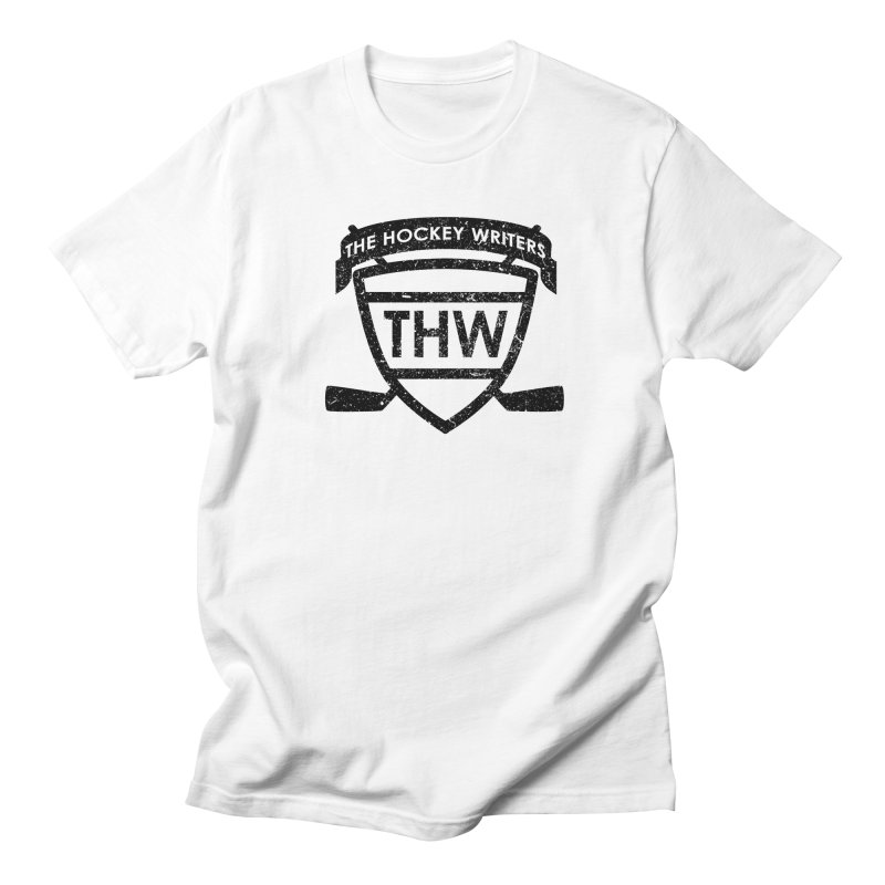 The Hockey Writers Shield - black stressed Men's T-Shirt by The Hockey Writers