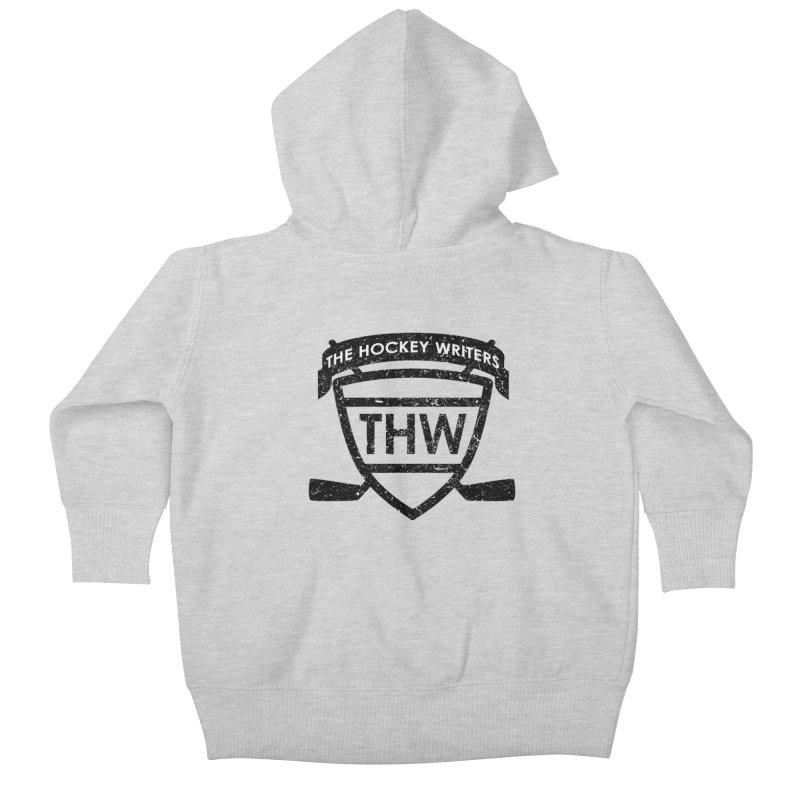 The Hockey Writers Shield - black stressed Kids Baby Zip-Up Hoody by The Hockey Writers